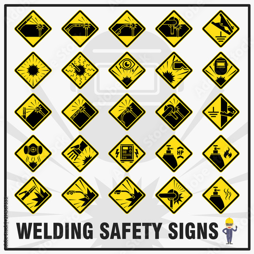 Set Of Safety Signs And Symbols For Welding Works Safety Signs Use