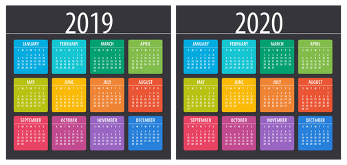 2019 2020 Calendar - illustration. Template. Mock up