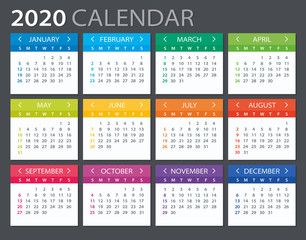 2020 Calendar - vector illustration. Template. Mock up.