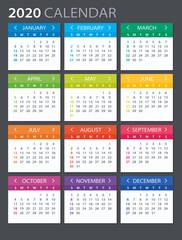 2020 Calendar - illustration. Template. Mock up