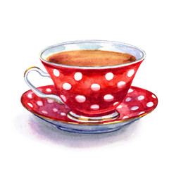 Red tea cup with polka dots, watercolor illustration on white background, isolated with clipping path.