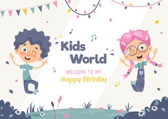 Kids Birthday Template Vector Illustration
