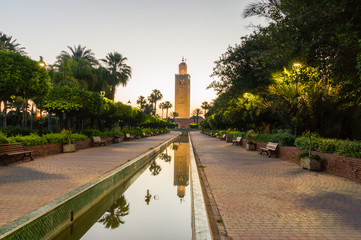 Minaret of Koutoubia Mosque at sunrise in Marrakech, Morocco.