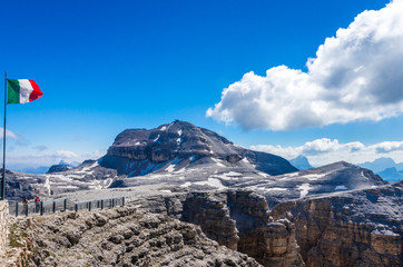 Piz Boe peak, 3152 m, in Sella massif, Dolomiti, Italy. View of rocky landscape from the hiking path.