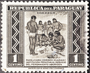 Indigenous people on postage stamp of Paraguay