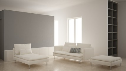 Minimalism, modern living room with gray plaster wall, sofa, chaise longue and pouf, travertine marble floor, white interior design