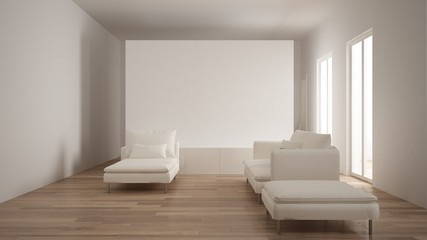 Minimalism, modern living room with white plaster wall, sofa, chaise longue and pouf, parquet oak floor, white interior design
