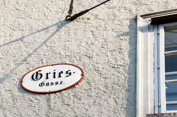 Straßenschild Griesgasse, Salzburg, Salzburger Land, Österreich, Europa
