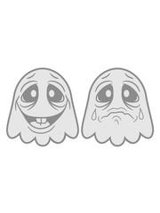 lachen glücklich unterschied 2 freunde team paar weinen traurig tränen unglücklich beleidigt geist süß niedlich frech comic cartoon clipart spuken horror monster grusel halloween