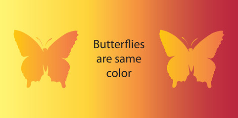 Optical illusion. Both butterflies are the same color