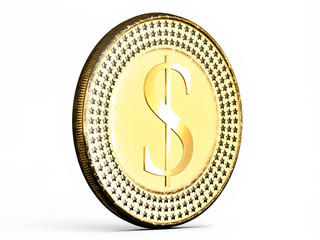 Close-up on a Dollar coin in gold on white background