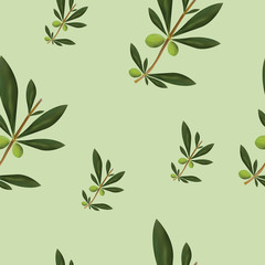 seamless pattern with olive trees vector on green background