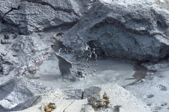 Boiling and bubbling mud pots at the Krafla geothermal area near Lake Myvatn, iceland