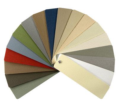 Vinyl siding color sampler for exterior walls, isolated on white