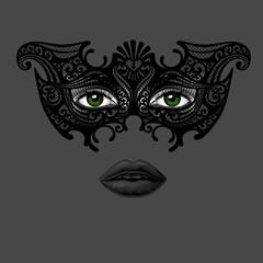 Woman in carnival Venetian mask at night.