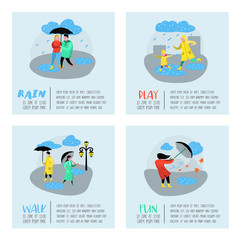Characters People Walking in the Rain Poster, Banner. Cartoons in Raincoats with Umbrella. Autumn Rainy Weather, Fall Season. Vector illustration