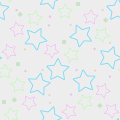 Seamless pattern, colorful stars background, pastel colors on white eps 10