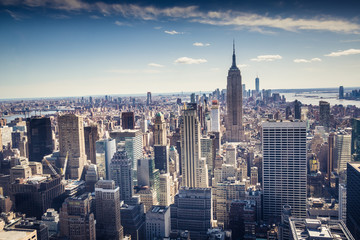 Aerial view of Downtown and Midtown Manhattan Skyline, New York, USA