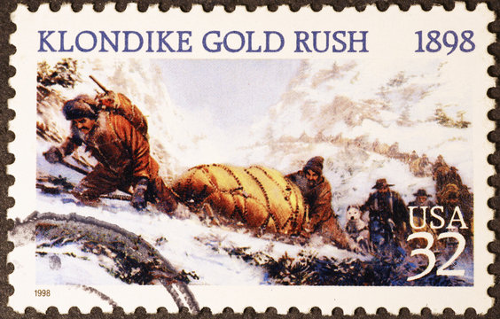 Klondike gold rush on american postage stamp