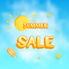 Summer Sale card. Banner with decoration. Vector illustration.