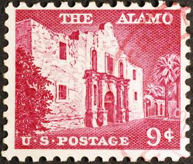 Alamo mission on vintage american postage stamp
