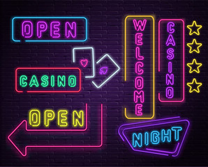 Neon luminous welcome casino signs on purple bricklaying wall.