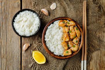 Orange glaze chicken with rice