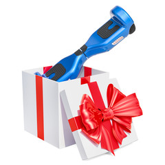 Gift concept, hoverboard or self-balancing scooter inside gift box. 3D rendering