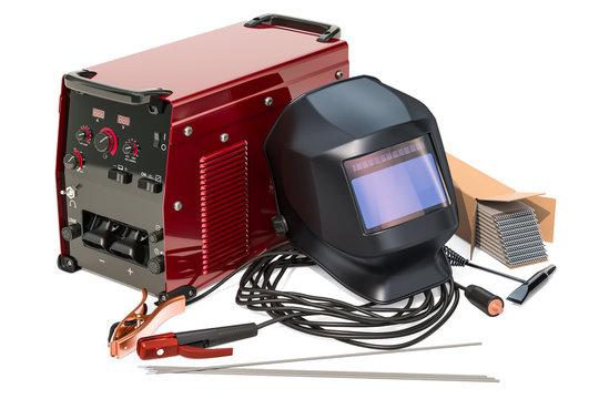 Set of welding equipment, 3D rendering