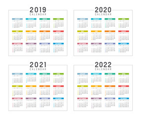 Years 2019 2020 2021 2022 calendars