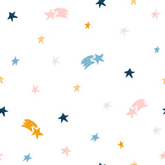 Hand drawn stars seamless pattern. Childish cute print. Vector illustration.