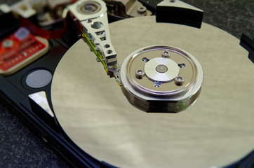 Hard drive 3.5 inches as a data storage with motherboard