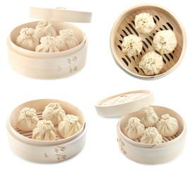 Set with tasty baozi and khinkali dumplings on white background