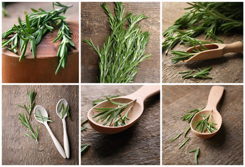 Set with fresh aromatic rosemary