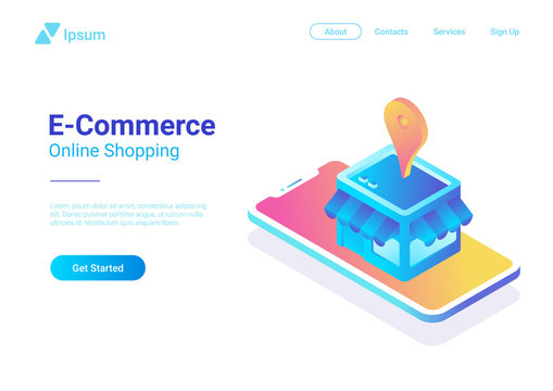 E-commerce isometric vector. Web Shop Store in Smartphone