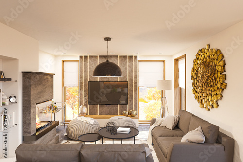 Living room interior design. Modern one bedroom studio apartment in ...