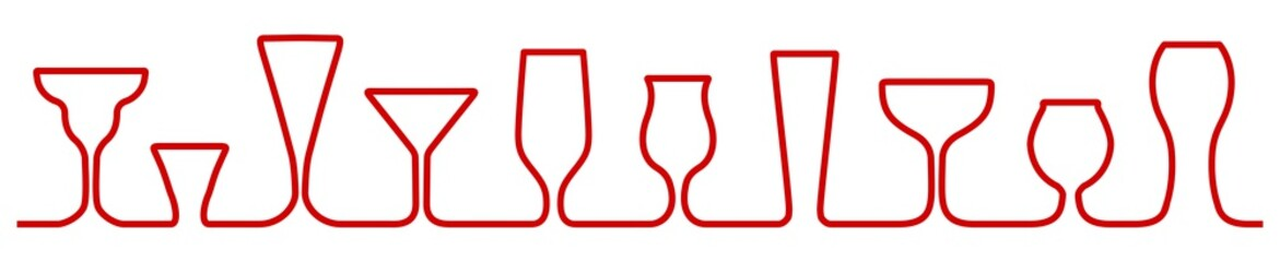 Bar glasses one line icons set. Wine glass, cups, mugs – for stock