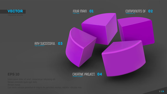 Four parts of whole. Teamwork concept. Purple sectors and labels on gray background. 3d vector infographic template. Eps10.