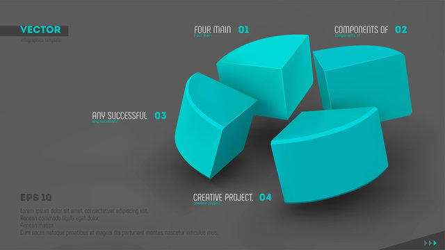Four parts of whole. Teamwork concept. Blue sectors and labels on gray background. 3d vector infographic template. Eps10.