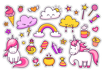 Cool stickers set of cartoon characters, clouds, rainbow, magic elements.