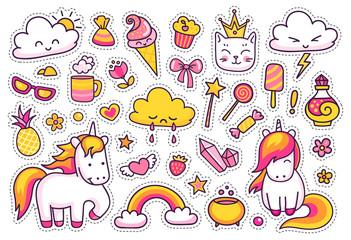 Cute unicorns with magic elements.