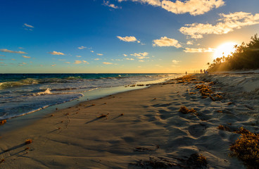 Beautiful sunset on the most famous and luxurious beach in Bermuda, Horseshoe Bay.