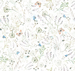Floral seamless pattern with watercolor and butterflies in vintage style.