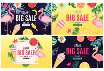 Abstract Summer Sale Background with Palm Leaves, flamingo and Ice Cream Collection Set. Vector Illustration