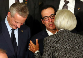 U.S. Secretary of the Treasury Mnuchin and IMF Managing Director Lagarde kiss as they arrive for the official photo at the G20 Meeting of Finance Ministers in Buenos Aires