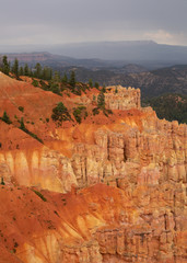 Canvas Prints Cuban Red Orange and yellow cliffs topped with green pines under a cloudy sky in Bryce Canyon national park