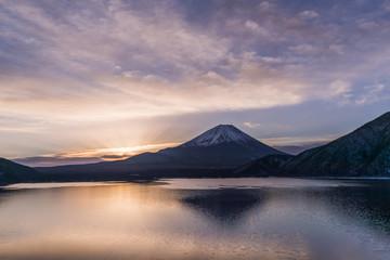 Lake Motosu and Mount Fuji at early morning in winter season. Lake Motosu is the westernmost of the Fuji Five Lakes and located in southern Yamanashi Prefecture near Mount Fuji, Japan