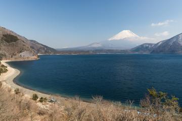 Mt. Fuji and Motosu lake in spring season.