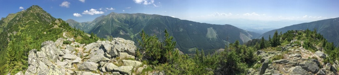 Summer hike in the slovakia tatra. Beautiful landscapes and mountains.