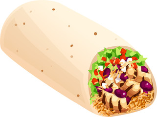 Mexican burrito with grilled chicken, lettuce, tomatoes, onions, beans, and rice. Isolated vector illustration.